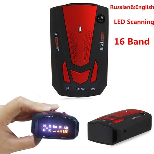 Car Radar Detector 16 Band 360° Laser Speed Detector With English/Russian Voice Alert 16 Brand (Red/Blue)
