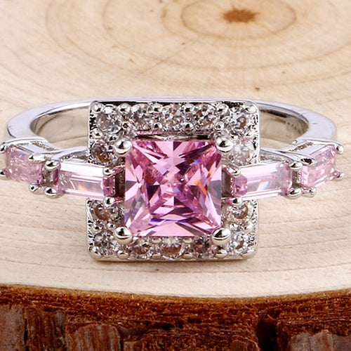 Charming Pink & White Sapphire Sterling Silver 925 Ring