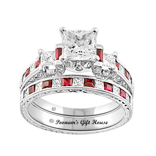 2.66 Carat Pink CZ Engagement Ring & Wedding Band Set