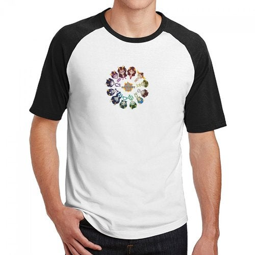 Homestuck Hivebent Betas Clock Starsign Men's Cotton Short Baseball Raglan Sleeves T-Shirt