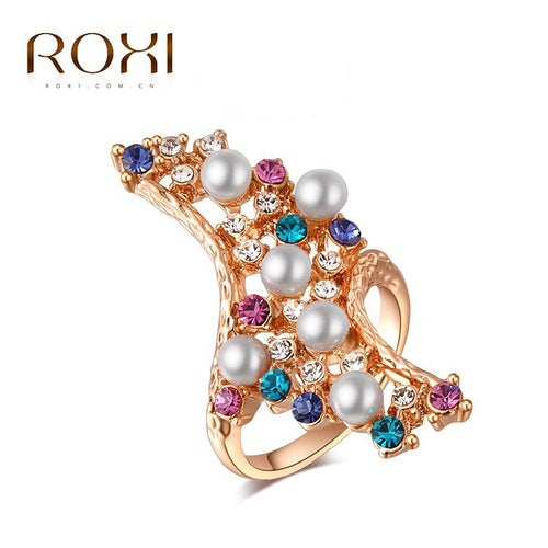 Austrian crystal pearl ring rose gold