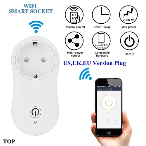 Wireless WiFi Smart Socket Intelligent Outlet APP Remote Control Work with Alexa & Google Home Support Timing Function with 5V USB Output UK Plug for Android iOS Smartphone