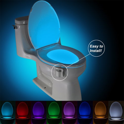Auto-sensing LED Toilet Seat Lamp Night Motion Light Toilet Bowl Home Bathroom Red&Green Light Lamp (2x AA Battery not Include)