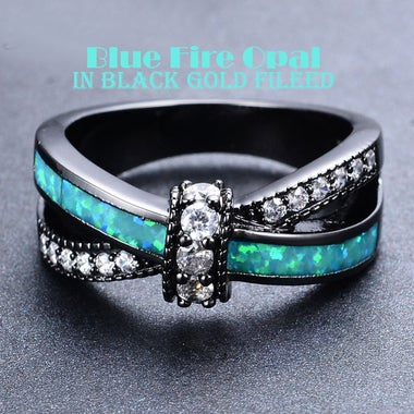 Luxury 2.0 CTTW Synthetic Opal Ring in 18K Black Gold Plated