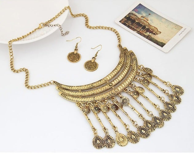 Gold African Necklace & Earring Fine Jewelry Set