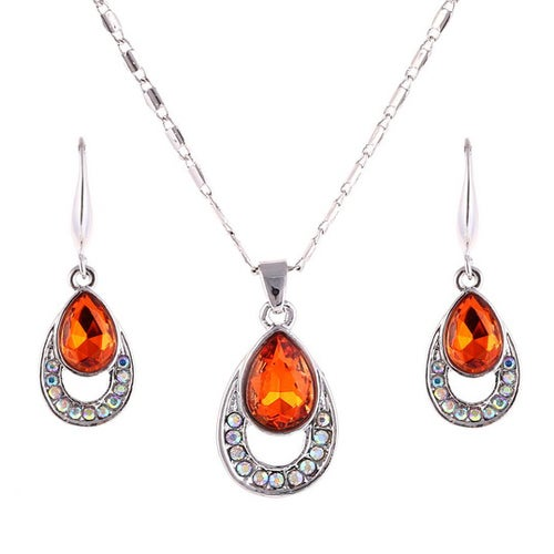 18kt White Gold Plated Fire Red Hot  Drop Set