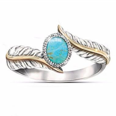 Women Fashion Jewelry Turquoise Ring Engagement Band Ring