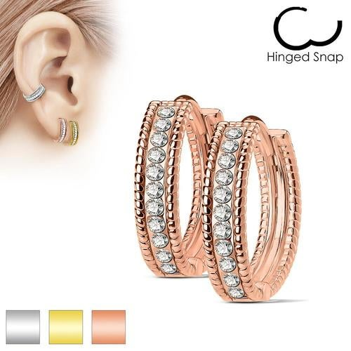 Pair of Beaded Edges Dome Center with Channel Set Lined CZ 316L Surgical Steel Post Hoop Earrings