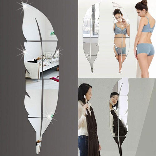 DIY Modern Plume Feather Style Acrylic Mirror Wall Stickers Room Decoration