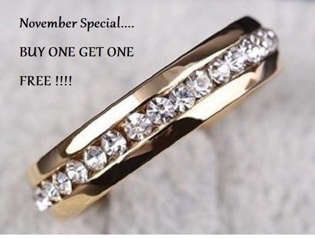 November Special... Buy one get one FREE !!!! Stainless steel AAA crystal ring size 4-13