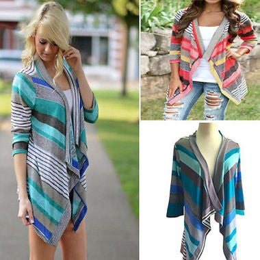 Lady Loose Sunscreen Thin Cardigan Tops Irregular Geometric Printed Open Front B