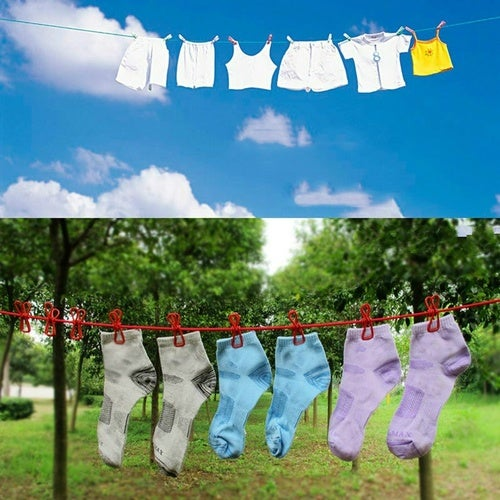 Home Portable Stretch Windproof Clothesline Rope with 12 Clips Hangers Color Random