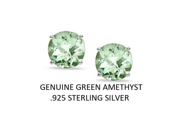 2.00 CTTW .925 Sterling Silver Genuine Green Ametyst Stud Earings