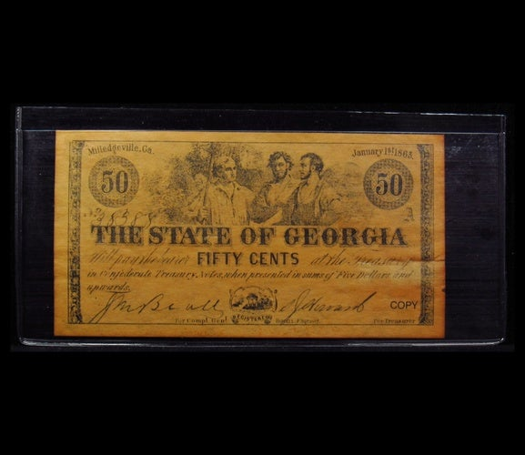 1863 $0.50 - The State of Georgia  - 50 Cents  Paper Coin  - Reproduction -