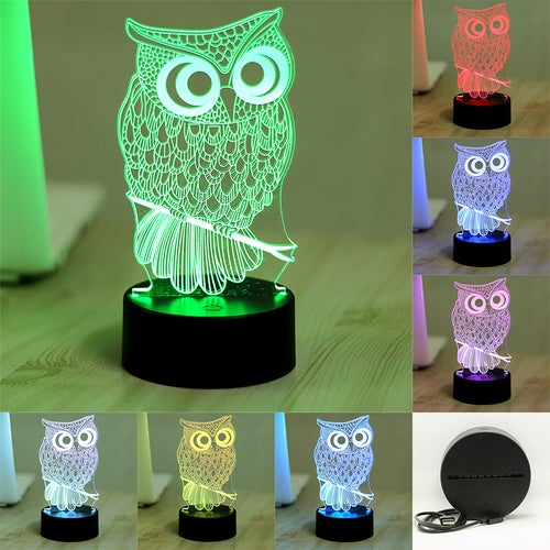 Great Gift for Christmas Cool Touch 3D LED Night Light owl Animal 7 Color Change LED Table Desk Lamp Kids Xmas Gift Home decoration