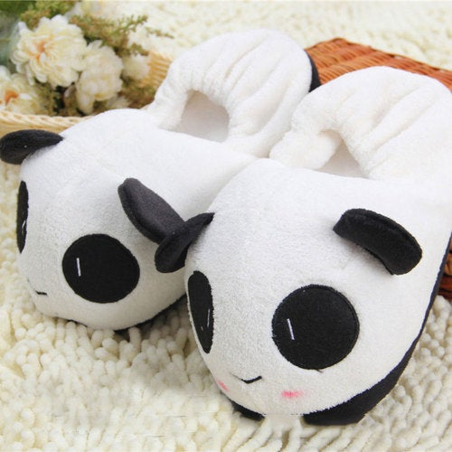 Couples classic panda half pack with cotton slippers winter home cloth plush slippers men and women cartoon
