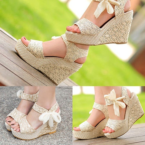 Summer Womens Sweet Bohemian High Heel Wedge Sandals Bowknot Ankle Shoes
