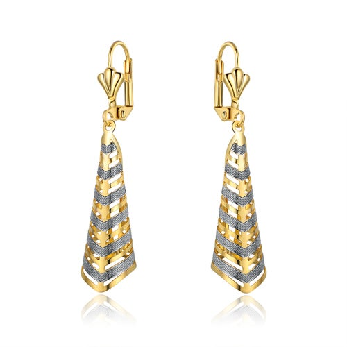 Gold Plated Gold and Silver Stripe Cutout Folded Triangle Drop Earrings