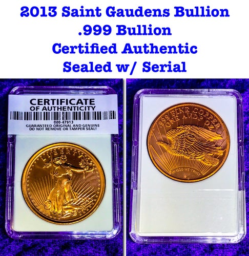 (Certified Authentic Sealed w/Serial) .999 Bullion *Saint Gaudens $20 Double Eagle* 1 Troy Oz. Copper Round