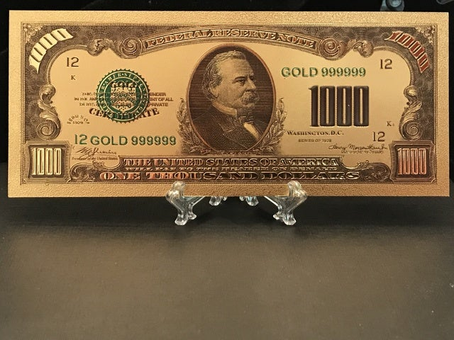 *24Kt Gold* Pressed In Plastic *1928 Grover Cleveland $1,000 Gold Certificate*