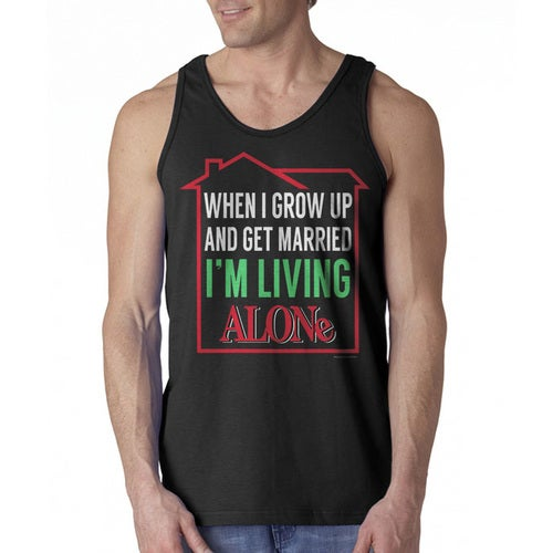 Home Alone Living Alone When Married Men's Black Tank Top