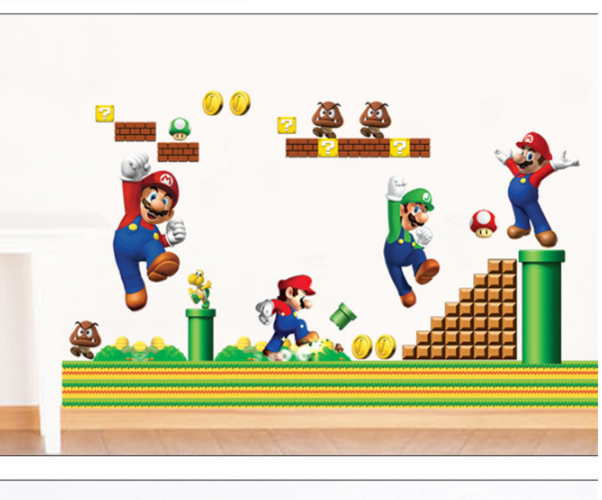 HOT SALE New Super Mario bros Boy Room Kids Room Nursery Art Decal Wall Stickers Home Decor Wall Stickers For Kids Rooms