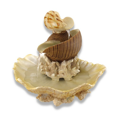Zeckos - Sculpted Seashells and Coral Indoor Table Top Water Fountain