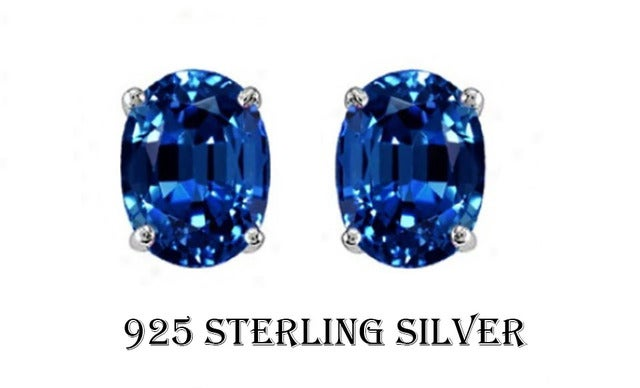 2.00 CTTW .925 Sterling Silver Genuine Oval 7x5 Lab Created Sapphire Stud Earings