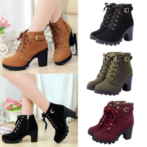 Cyber Monday  Sexy Women Lace Up Mid Chunky Block Heel Ankle Boots Platform Buckle Suede Shoes