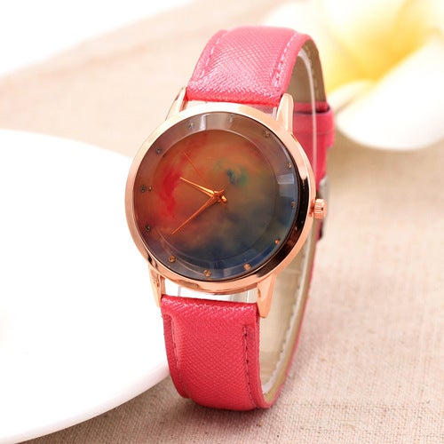 Brown glass red and blue star crystal belt ladies watch point diamond English watch