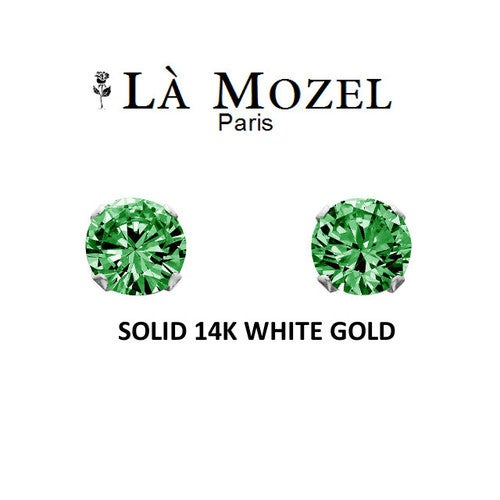 Luxury Solid 14K White Gold Classic Elegant HandCrafted Round Cut Stud Earrings Featuring Green Stone - 5MM