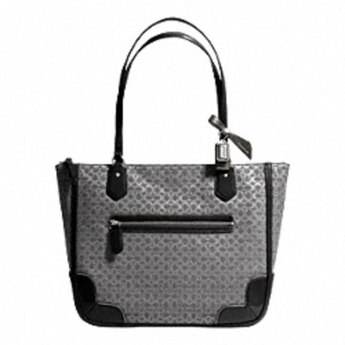 c9bb41d8cc2 Coach Poppy Signature C Metallic Tote Charcoal   Tophatter