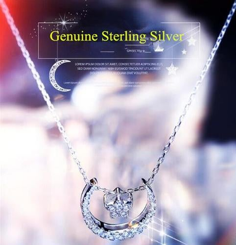 STAR & MOOM Sterling Silver Charm Dangle Pendant Necklace Gift For Women