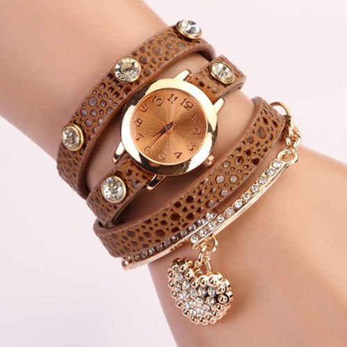 Women's Multi-layer Band Wristwatch Heart Pendant