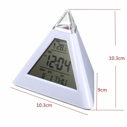 7 LED Home Office Desk Pyramid Digital Backlight Color Everchanging Table Alarm Clock Thermometer Temperature Calendar Date Time LED Display (Size: Triangle)