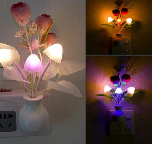 1pcs Romantic Colorful LED Mushroom Night Light Lamp Home Illumination