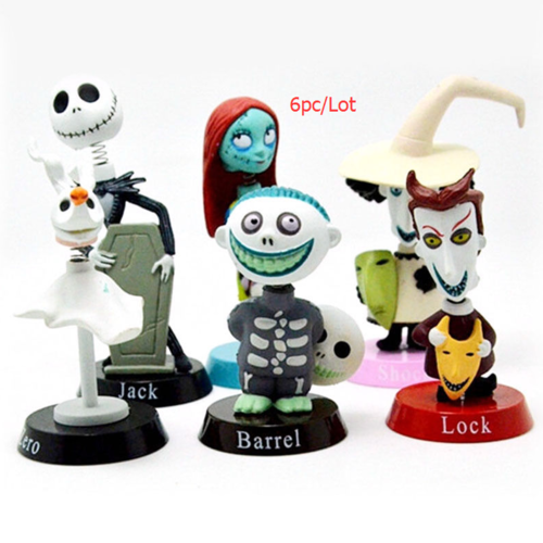 6pc set nightmare before christmas cake topper jack skellington sally