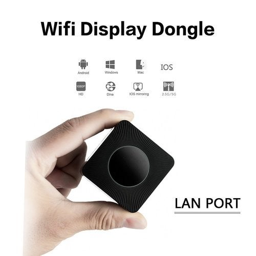 Wifi Display Dongle,Upgraded 5G Wireless 1080P Screen Mirroring Adapter HDMI/AV Dual Video Receiver with Plug and Play, LAN Port Support DLAN Airplay Miracast for IOS/Android/Windows/Mac