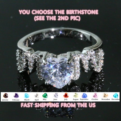 Luxury Mom Ring with Lab Created Heart Shaped Birthstone Christmas Holiday Gift