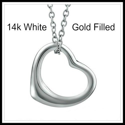 14k White Gold Filled, Heart Necklace Sm791