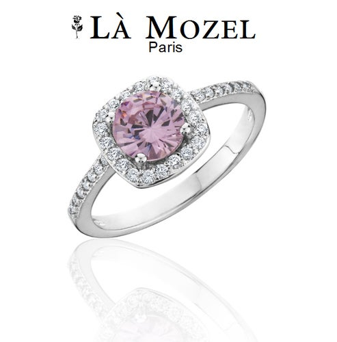 3.00 Carat Pink Birthstone Ring In HandCrafted 18K White Gold Over Brass