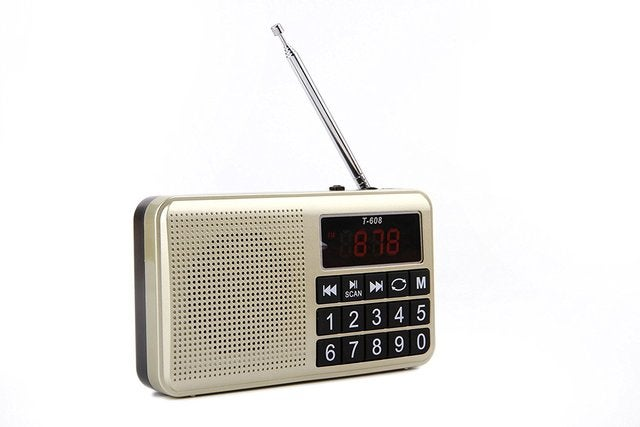 Portable Rechargeable Digital LED Display Panel Stereo FM/MW/SW Radio Speaker Support USB TF Mirco AUX SD Card MP3 Music Player for The Elderly-(Gold)