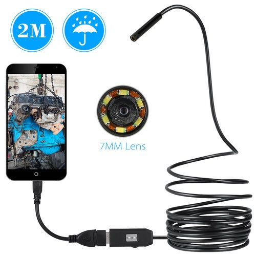 1pcs Hot 2M 7mm USB Endoscope Waterproof Borescope Snake Inspection Tube Video Camera with 6 LED(not support for Apple )