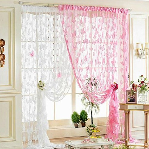 Home Decor Translucent Embroidered Butterfly Sheer Tulle Tassel String Curtain