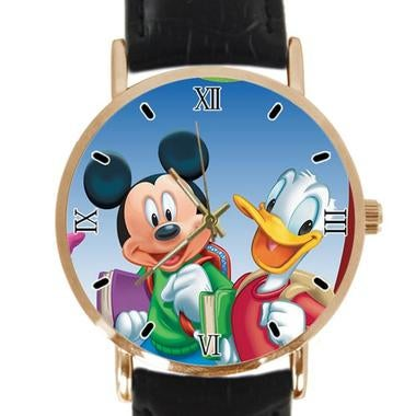 Disney Desktop Custom Classic Leather Strap Wrist Quatrz Watch