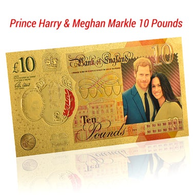 £10 Prince Harry & Meghan Markle 10 Pounds Fine .999 Gold Foil Dollar Certificat