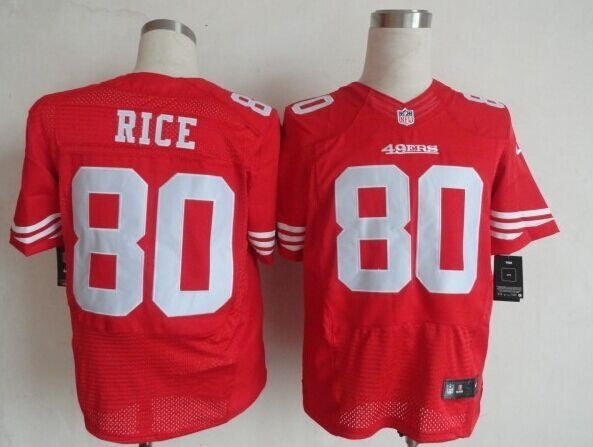 49ers #80 rice red elite jersey Mens