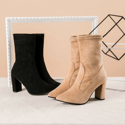 Women Stretch Suede Pull On High Block Heel Boots Sock Ankle Boots Party Shoes