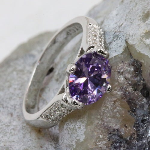 Violet collection from 'Alpha jewelry'. Certified 3X Platinum plated. Genuine 5AAAAA level Italian origin stone inlay with over 20 pure white stones to compliment beauty of main stone . Rich, Sophisticated, Fashionable and absolutely outstanding quality r