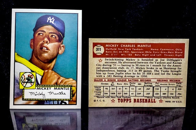 Reprint Of The Most Sought After Baseball Card Ever 1952 Topps Rookie Mickey Mantle New York Yankees Free Display Case Included